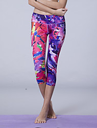 Rainha Yoga ® Ioga 3/4 calças justas Respirável / Compressão / Redutor de Suor Elasticidade Alta Wear Sports Ioga Mulheres