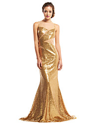 TS Couture Prom Formal Evening Dress - Celebrity Style Trumpet / Mermaid Jewel Sweep / Brush Train Sequined with Sequins