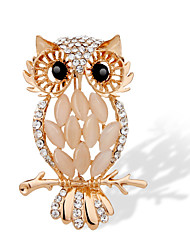The Korean Version Of Micro Diamond Trade With High-Grade Owl Opal Brooch