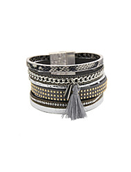 Fashion Women Multi Rows Decorated Magnet Buckle Leather Bracelet
