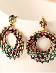 Bohemia Multicolor Beads Round Drop Earring