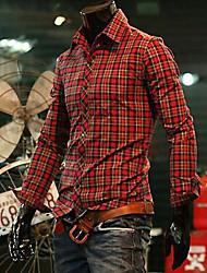 Camicia Uomo Casual A quadri Cotone Manica lunga Rosso