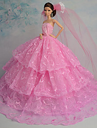 Poupée Barbie - Rose - Soirée & Cérémonie - Robes - en Organza / Dentelle