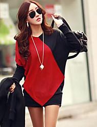 Vrouwen Eenvoudig / Street chic Herfst T-shirt,Casual/Dagelijks Patchwork Ronde hals Lange mouw Rood / Beige Katoen Medium