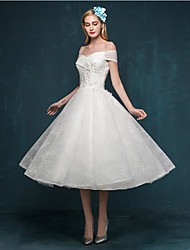A-line Wedding Dress Little White Dress Tea-length Off-the-shoulder Lace with Appliques Beading Sequin