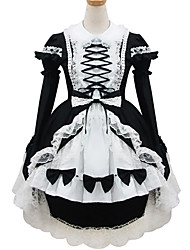 Black and White Polyester Maid Costume Type18