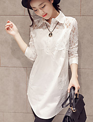 Women's Solid / Lace White Loose Casual Long Blouse , Shirt Collar Long Sleeve
