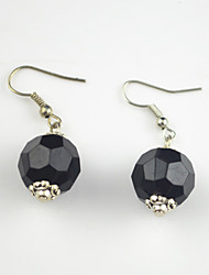 Vintage Look Antique Silver Plated Round Black Acrylic Alloy Dangle Drop Earring(1Pair)