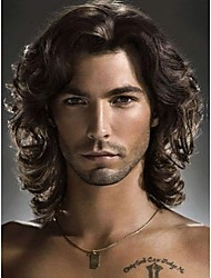 Fashion Heat Resistant Synthetic Shaggy Wavy Wig Capless Black Brown Middle Part Medium Men's Wigs