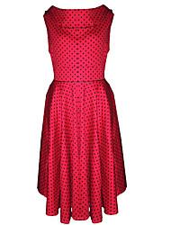 여성의 뒷면이 없는 스타일 드레스 라운드 넥 민소매 무릎길이 면