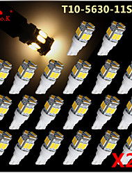 20x T10 W5W 192 168 194 7014 5730 11 11smd conduit feux latéraux LED blanc chaud lumière de coin 12v