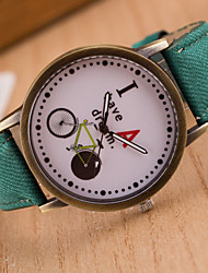 Girl's Bicycle Leisure Bronze Canvas Watch