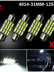 4X NEW White 31mm 12 4014 SMD Festoon Dome Map Interior LED Light Lamp DE3175 3022 12V