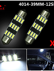 2X NEW White 39mm 12 4014 SMD Festoon Dome Map Interior LED Light Lamp DE3175 3022 12V
