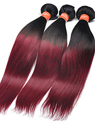 "3Pcs/Lot 10""-30"" Brazilian Virgin Hair Color T1B/Burg Straight Human Hair Weaves"