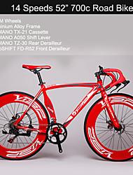 """14 versnellingen 700c wegfiets Visp ™ 52 """"fietsen 70mm breedte wielen Shimano aandrijflijn aluminium racefiets"""