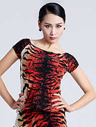 Imported Nylon Viscose with Pleated Latin Dance Tops for Women's Performance (More Colors)