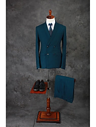 Suits Tailored Fit Shawl Collar Double Breasted Four-buttons Cotton Blend Solid 2 Pieces Dark Green