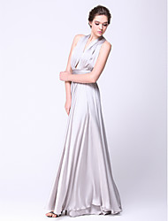A-Line Straps Floor Length Satin Chiffon Prom Formal Evening Military Ball Dress with Sash / Ribbon Pleats by TS Couture®
