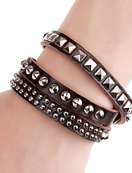 Fashion Men and Women's Square and Round Buttons Inlay Long Strip Leather Bracelets