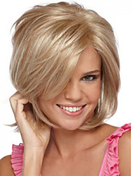 Attractive Gold Side Parting Kanekalon Womens Short Wig