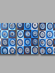 Ready to Hand Stretched Framed Hand-Painted Oil Painting Canvas Wall Art Modern Abstract Blue Circles Three Panels