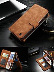 Para Samsung Galaxy S7 Edge Cartera / Soporte de Coche / con Soporte / Flip Funda Cuerpo Entero Funda Un Color Dura Cuero Auténtico