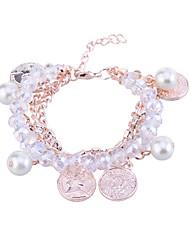 Fashion Drill Chain Pearl Coin Charm Bracelet