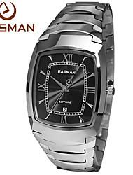 EASMAN® Mens Luxry Hardest Tungsten Steel Band Black Dail Sapphire Glass Watches Date Calendar Best Gift Watch for Men Cool Watch Unique Watch