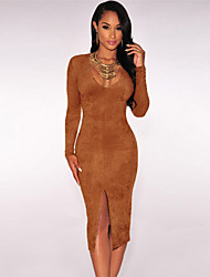 Women's  Faux Suede Long Sleeves Slit Dress