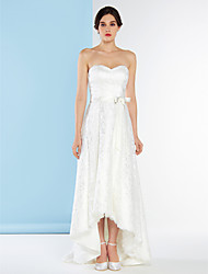 Lanting A-line Wedding Dress - Ivory Asymmetrical Sweetheart Lace