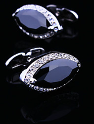 Fashion Copper Men Gift Jewelry Silver Plated Eye Shaped Cz Crystal Rhinestone Button Cufflinks(1Pair)