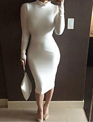 Moulante Robe Femme Soirée Sexy Chic de Rue,Couleur Pleine Col Roulé Midi Manches Longues Coton Polyester Nylon Toutes les SaisonsTaille