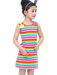 Vestido / Tank Top y Camisola Chica de - Verano - Algodón - Negro / Multicolor