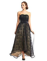 TS Couture® Formal Evening Dress A-line Strapless Asymmetrical Lace / Tulle with Draping / Lace