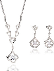 Jewelry Set Simulated Diamond Fashion Gold/White Wedding Party Daily Casual 1set 1 Necklace 1 Pair of Earrings Wedding Gifts