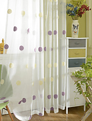 Two Panels Modern Polka Dots Purple Coffee Bedroom Polyester Panel Curtains Drapes