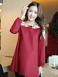 Maternity Round Neck Bow Lace Stitching Long Loose Blouse