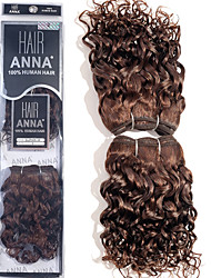"ANNA Brazilian Loose Curly Wave Hair Extensions #2 Dark Brown Human Hair Weaves 2*8"" 105g/pack"