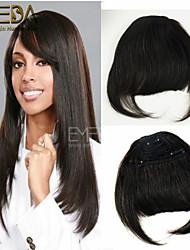 1pc franjas de cabelo bangs real de 100% grampos de cabelo humano de Remy em linha reta extensões pretas&marrom 2 cor menina bate em