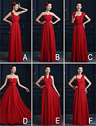 Ankle-length Chiffon Bridesmaid Dress - Ruby A-line One Shoulder