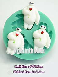 3 in 1 Cute White Robot DIY Silicone Chocolate Pudding Sugar Cake Mold