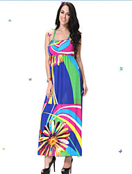 Women's Beach / Plus Sizes Boho / Print Loose / Swing Dress , Strap Midi Acrylic