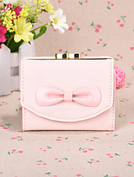 2016 Cute Sweet Style Big Bow  Short Horizontal  Candy Color MS Card Wallet Card Package