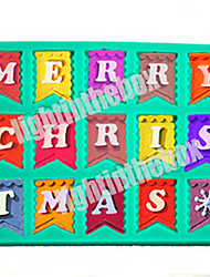 15 in 1 Christmas Bunting Flag Letter MERRY CHRISTMAS DIY Silicone Chocolate Pudding Sugar Cake Mold