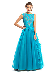 TS Couture Formal Evening Dress - See Through A-line Bateau Floor-length Lace Tulle with Lace