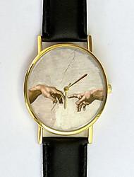 Женские Модные часы Кварцевый PU Группа Черный Белый Коричневый Зеленый Розовый