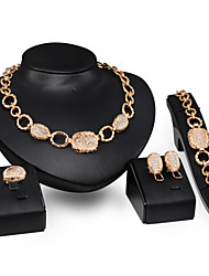 Jewelry Set Simulated Diamond Alloy Punk Gold Wedding Party Daily 1set 1 Necklace 1 Pair of Earrings 1 Bracelet Rings Wedding Gifts