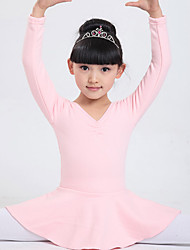 Ballet Dresses Children's Performance Cotton Bow(s) / Tiers 1 Piece Long Sleeve Natural Dress