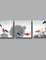"Ready to Hang Stretched Hand-painted Oil Painting 72""x24"" Three Panels Canvas Wall Art Water Lilies Grey Red Koi Fishes"